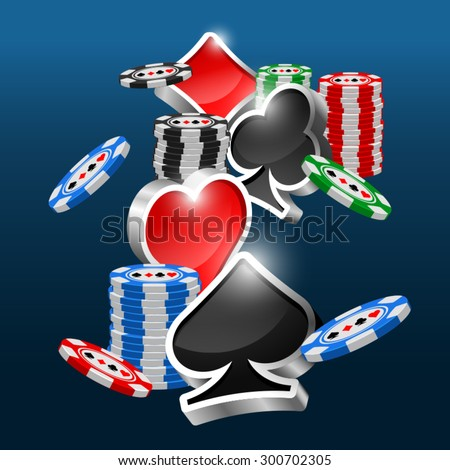 Gambling objects vector design. Poker chips. Casino elements. Shine three dimension card suits. Label, sign and logotype parts. Blackjack background.  - stock vector