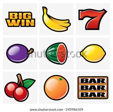 Gambling & Slot Machine Icons - Set 1 - stock vector
