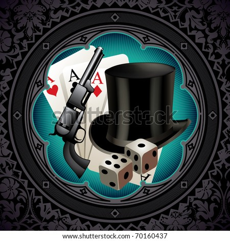 Gambling vintage background with gun and hat. Vector illustration. - stock vector