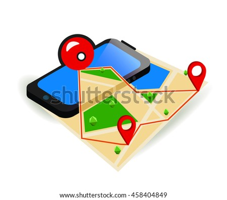Game Application Concept. Gps Map Navigation with Phone Screen. Vector Illustration.