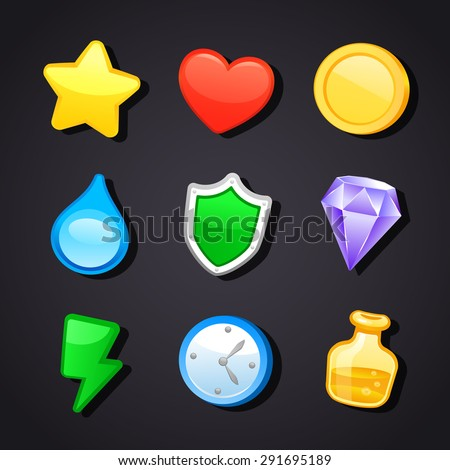 Game art design icons - stock vector