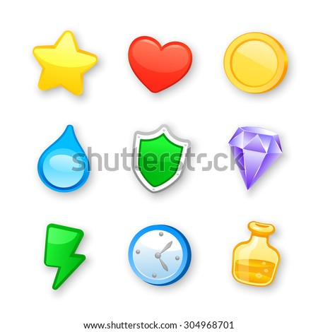 Game art design icons vector set - stock vector