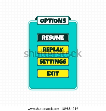 game asset screen template - stock vector