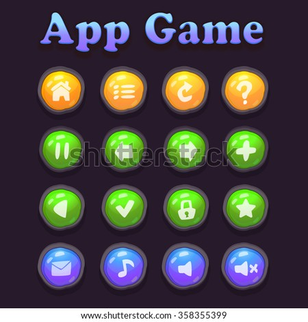 Game assets cartoon colorful buttons