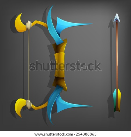 Game bow and arrow. Vector illustrations. - stock vector