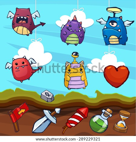 Game cartoon - monster characters, funny emotions icons (vector illustration) part 1 - stock vector