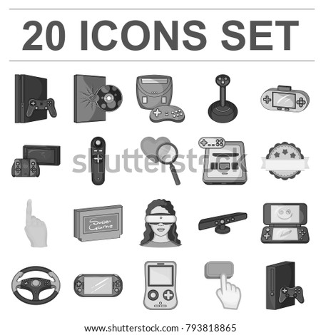 Game console and virtual reality monochrome icons in set collection for design.Game Gadgets vector symbol stock web illustration.