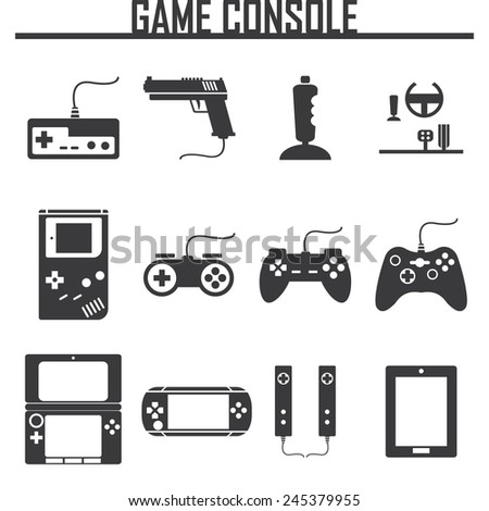 Game console icons set - stock vector
