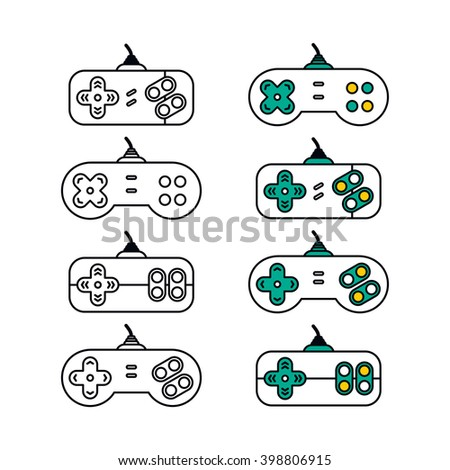 game console joystick set - stock vector
