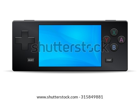 Game console portable black icon isolated on white background. Multimedia Video or Computer Games Vector illustration - stock vector