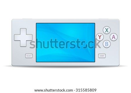 Game console portable white icon isolated on white background. Multimedia Video or Computer Games Vector illustration - stock vector