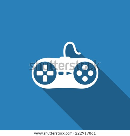 game controller icon with long shadow - stock vector