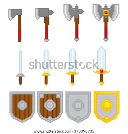 Game elements weapons. Pixel art. Old school computer graphic style. - stock vector