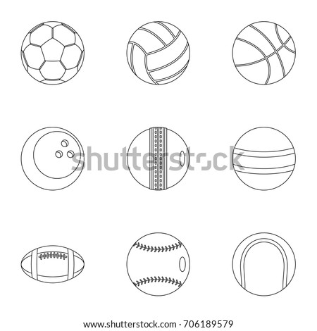 Game equipment icons set. Outline style set of 9 game equipment vector icons for web design