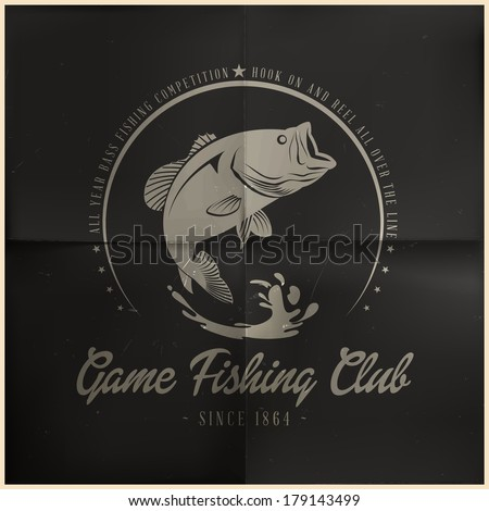 Game Fishing Club Badge - stock vector