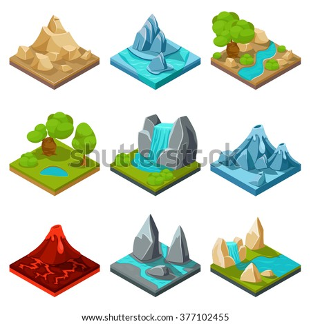 Game ground items. Nature stone, landscape in cartoon style interface, rock and water layer. Vector illustration - stock vector