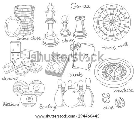 Game hand drawn icons set with casino sport and leisure games, vector illustration, playing cards, darts, chess, casino chips, billiard, domino, bowling, dice, roulette - stock vector