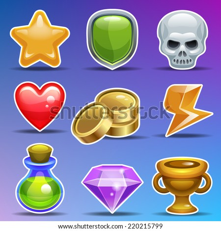 Game icons. Cartoon icons for game or user interface. Vector set eps 10.