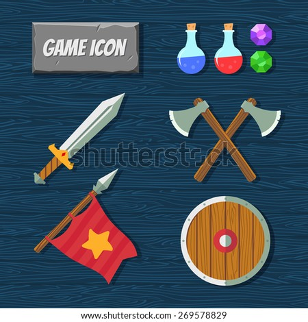 Game icons. Medieval weapons. RPG icons - stock vector
