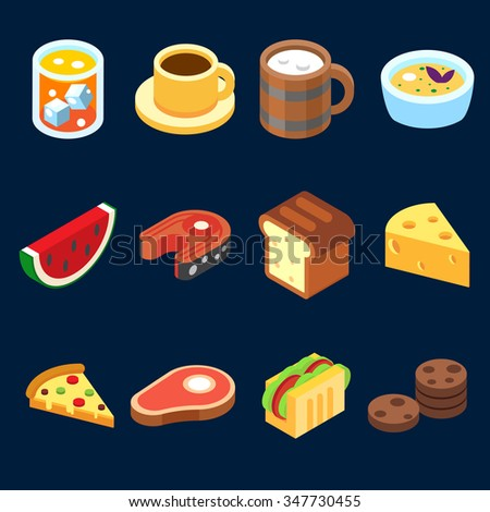 game icons set different food for higher health level isometric vector icon set. - stock vector