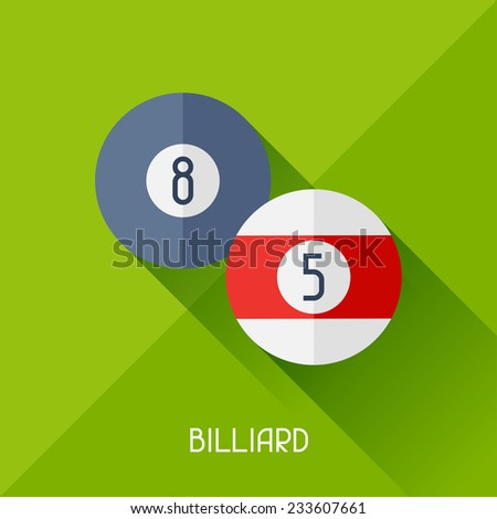 Game illustration with billiard in flat design style. - stock vector