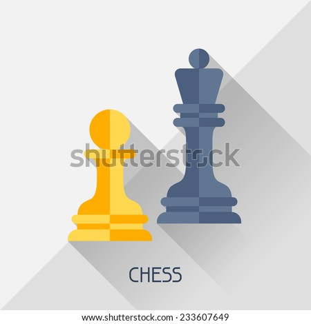 Game illustration with chess in flat design style. - stock vector