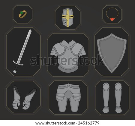 Game inventory. Knight armor set. Helmet, ring, necklace, sword, breastplate, shield, gloves, leggings, boots. Vector illustration - stock vector