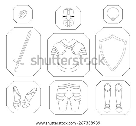 Game inventory. Knight linear armor set. Helmet, ring, necklace, sword, breastplate, shield, gloves, leggings, boots. Vector contour lines illustration - stock vector