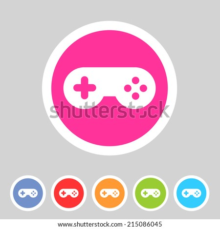 Game joystick flat icon badge - stock vector