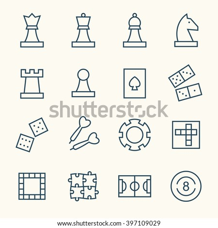 Game line icons - stock vector