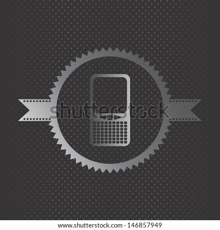 game metal theme phone label - stock vector