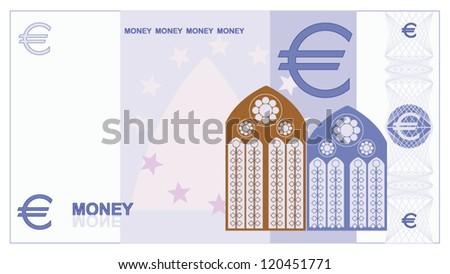 Game money - euro bill - stock vector
