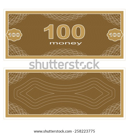 Game money. Set on a white background. Banknote one hundred money. - stock vector