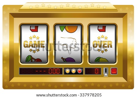 Game over - golden slot machine with three reels lettering GAME OVER and a thumb down symbol. Isolated vector illustration on white background. - stock vector