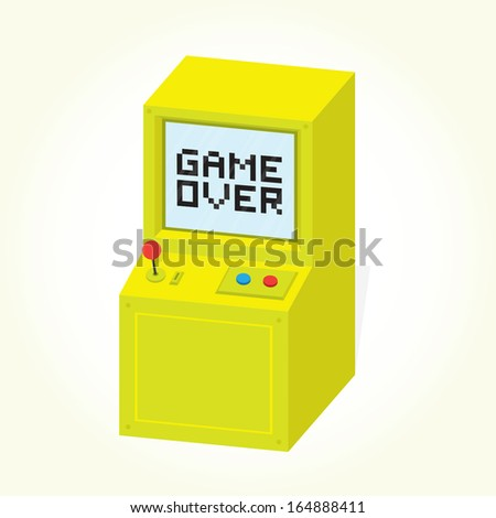 Game over on arcade machine isolated vector - stock vector