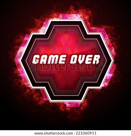 Game over sign on computer game screen / game badge - stock vector