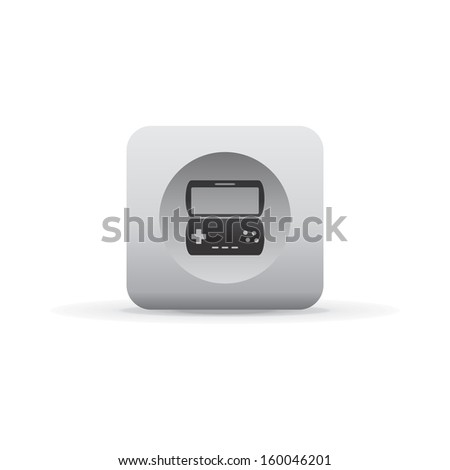 game pad flip white shadowed button icon