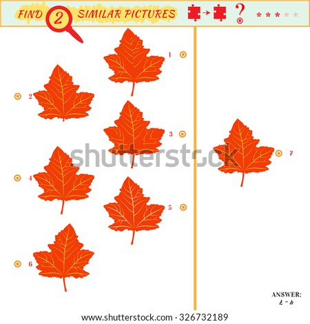 Game puzzles find similar image between two. Education matching game for preschool children. Visual puzzle game for kid. Quiz game. Cartoon leaves - stock vector