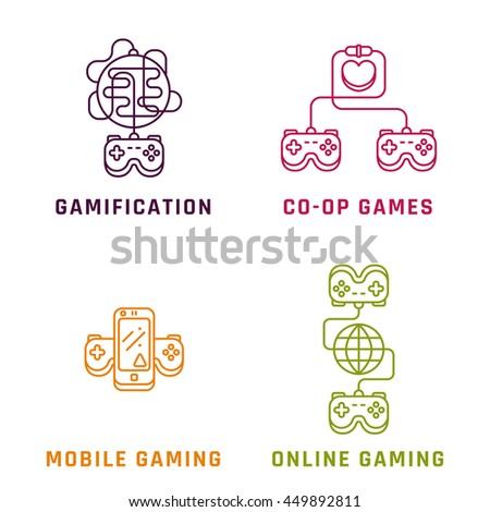Game related concepts, line style. Part 1. Vector illustration. - stock vector