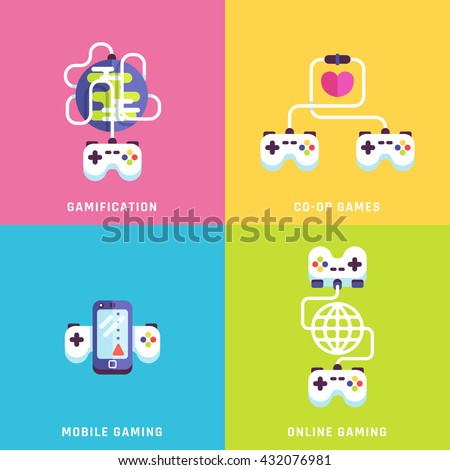 Game related concepts. Part 1. Vector illustration. - stock vector