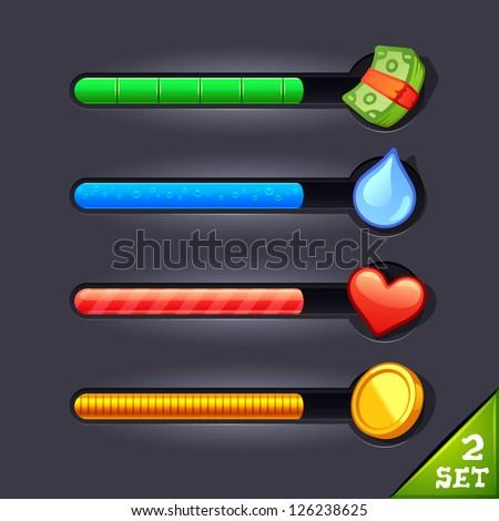game resource bar-set 2 - stock vector