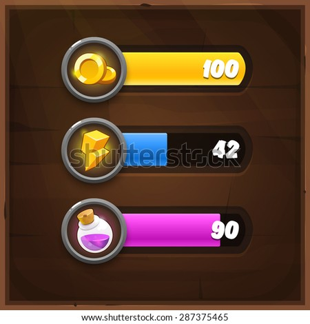 Game Resources Icons with Progress Bars on wooden background. Vector GUI elements for mobile games - stock vector
