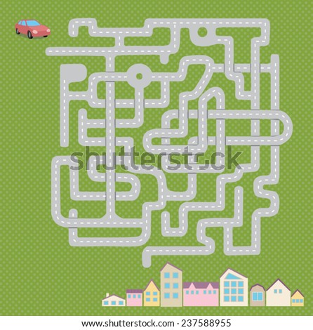 game road, find a way for car - stock vector