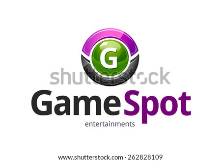 Game spot logo design template. Abstract glossy circle symbol. Vector art. - stock vector