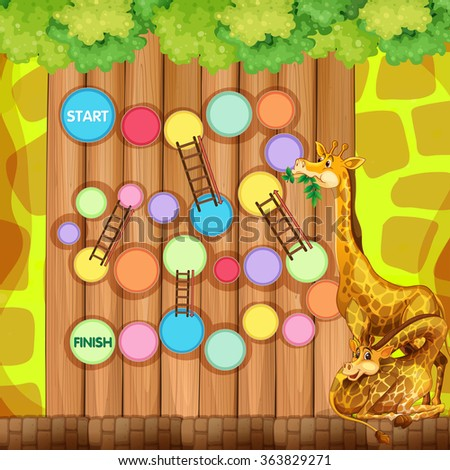 Game template with giraffes in background illustration