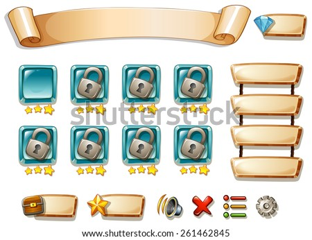 Game template with many game elements - stock vector