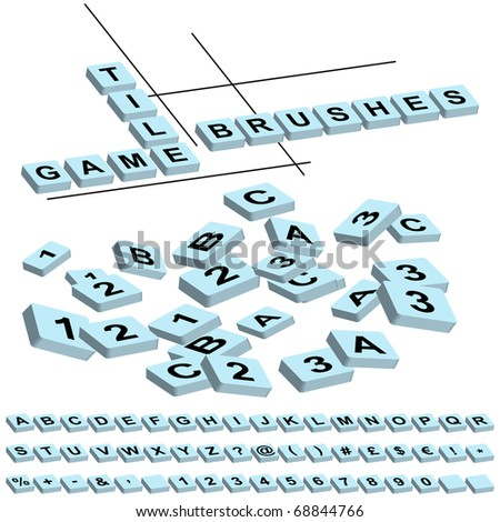 game tile brushes (just drag letters  to your brushes window) - stock vector