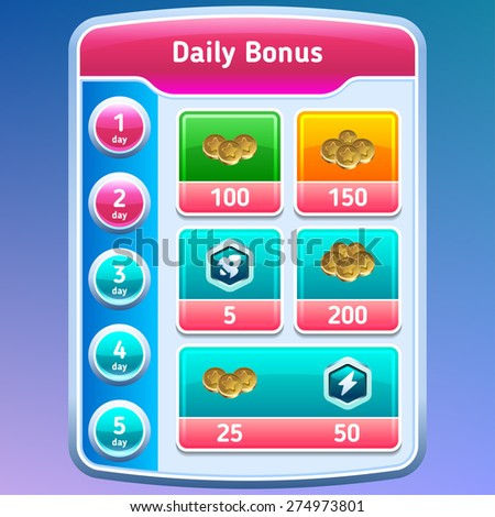 Game UI. Daily bonus screen. Vector eps 10. - stock vector