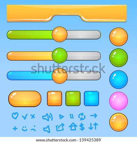 Game UI elements.Colorful glossy shining buttons and icons - stock vector