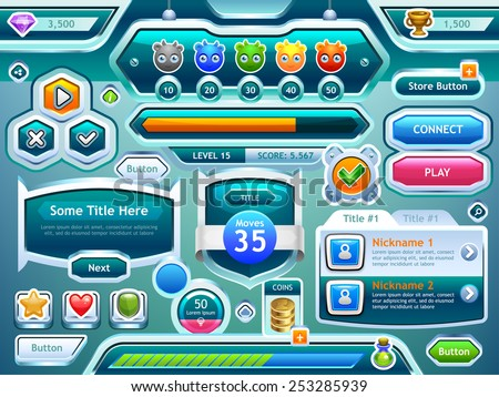 Game UI. Examples of screens, buttons, bars progression for computer and mobile games. Vector eps 10. - stock vector